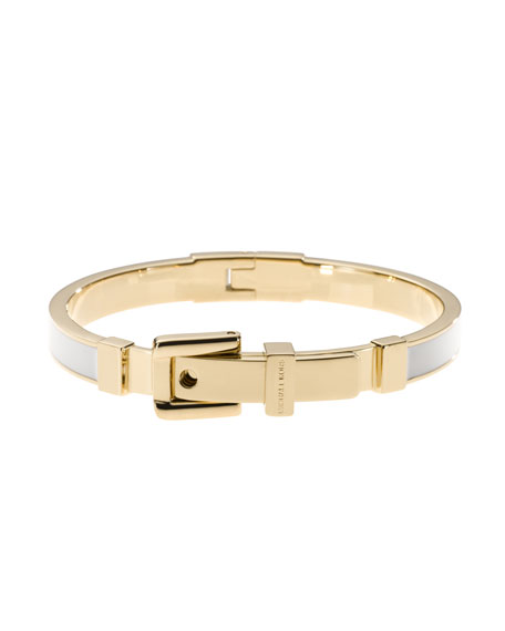 Buckle Enamel Bracelet, Golden/White