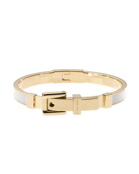 Buckle Enamel Bracelet, Golden/White