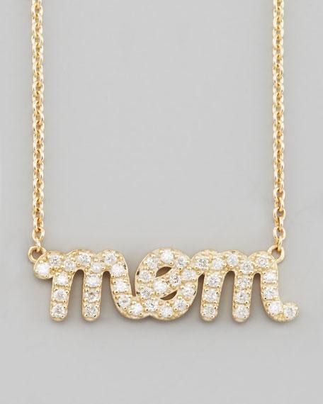 Diamond Mom Pendant Necklace