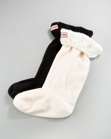 Cable Fleece Welly Socks, XXS-M