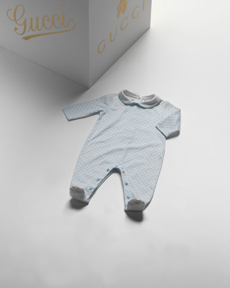 GG Long-Sleeve Sleepsuit, White/Blue