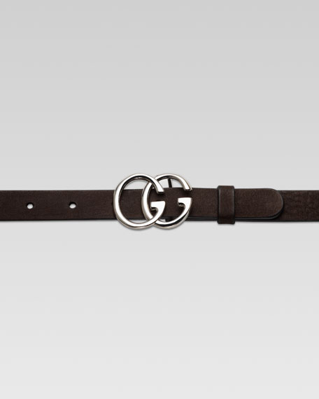 Children's Double G Buckle Belt, Dark Cocoa