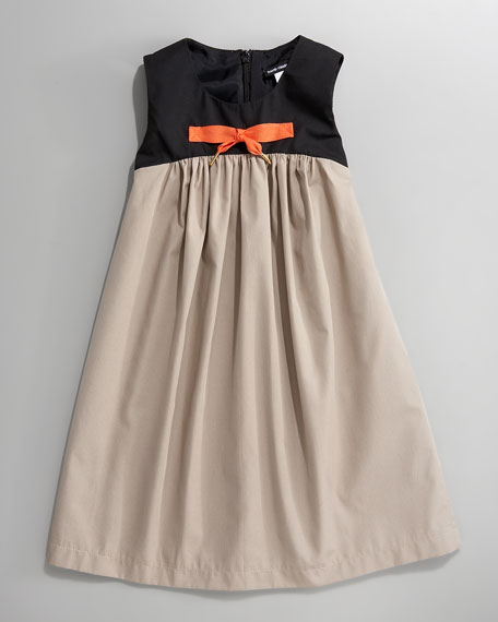 Bow-Center Colorblock Dress