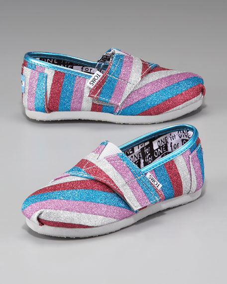 Striped Glitter Shoe, Tiny
