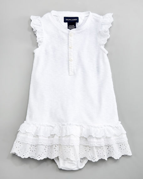 Eyelet-Trim Henley Dress, 12-24 Months