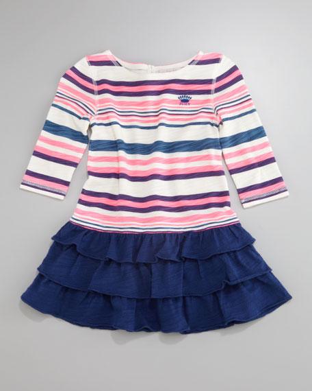 Striped Ruffle-Skirt Dress