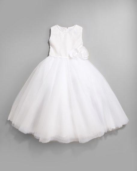 Sequin Tulle-Skirt Dress, Ivory, Size 2-10