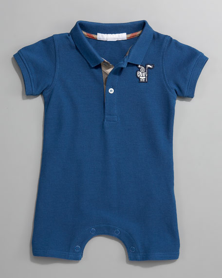 Short-Sleeve Polo Bodysuit, Blue