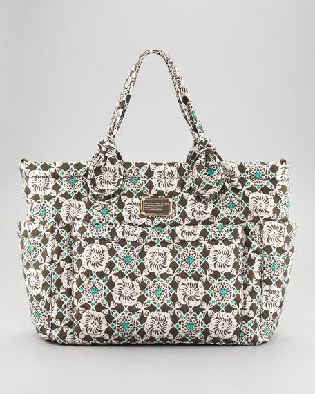 Pretty Eliza Baby Bag, Green Bramble Print