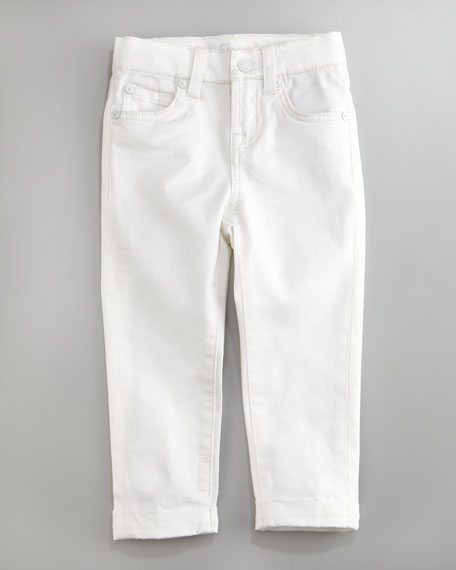Clean White Rolled-Cuff Crop Jeans, Sizes 7-10