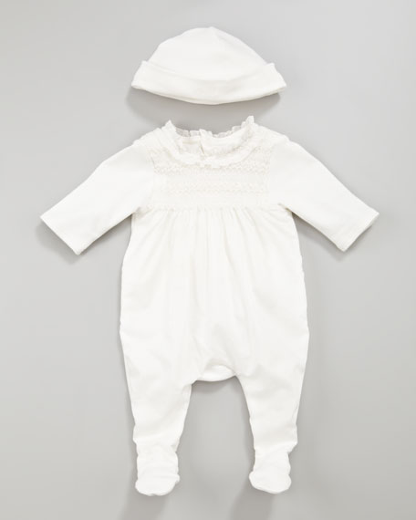 Smocked Playsuit and Hat Set
