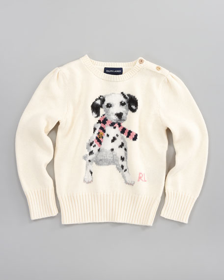 Dog Intarsia Puff-Sleeve Sweater
