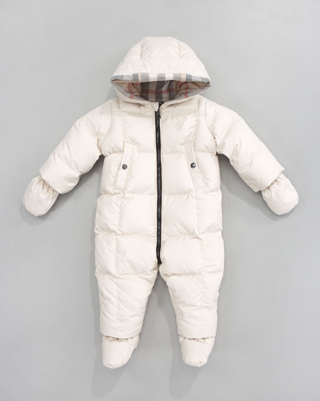 Hooded Snowsuit with Snap-On Mittens & Booties, Natural