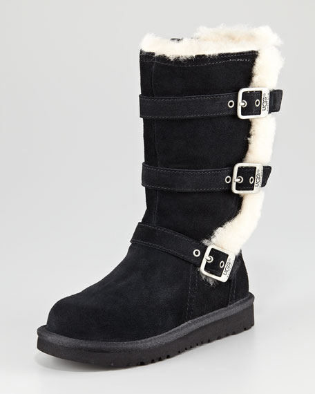 Kid Maddi Triple-Buckle Boot, Black