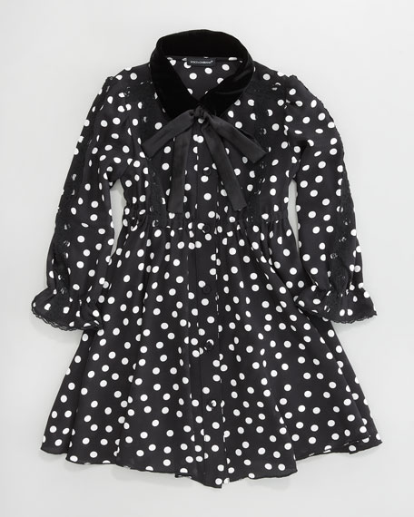 Velvet-Collar Dot Dress