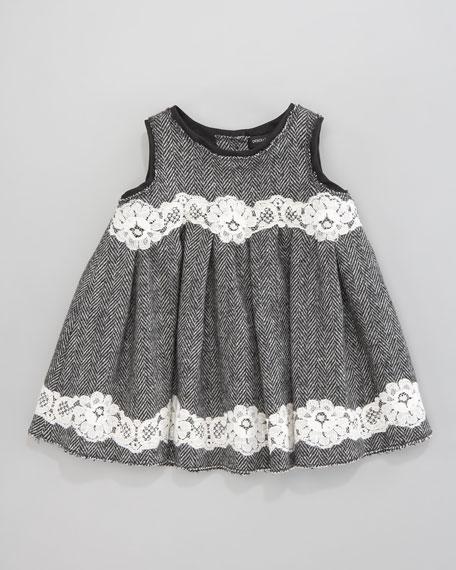 Herringbone Lace-Trim Dress
