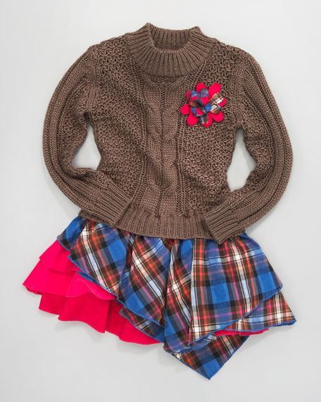Plaid-Skirt Sweater Combo Dress