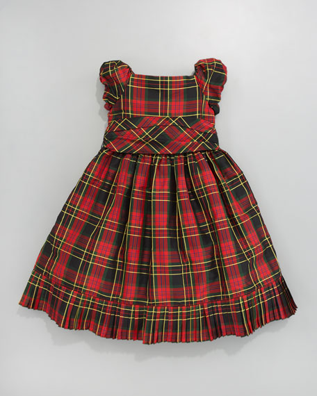 Tartan Pleated Taffeta Dress