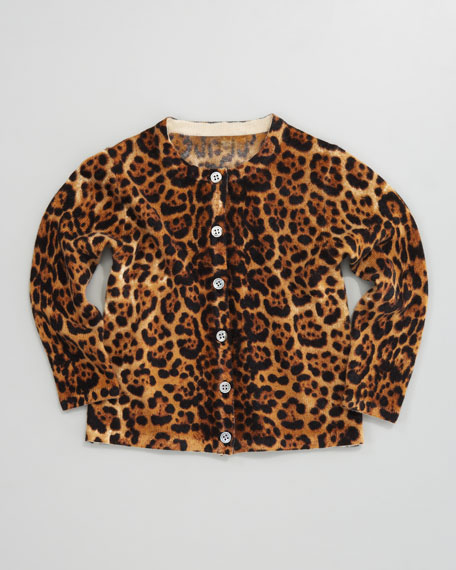 Cashmere Leopard-Print Cardigan