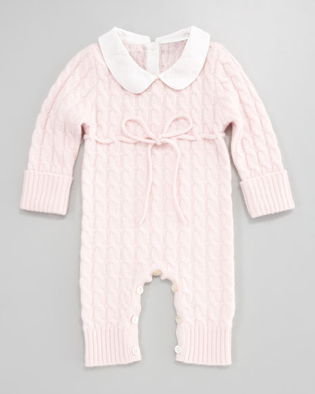 Cashmere Cable-Knit Playsuit, Light Pink