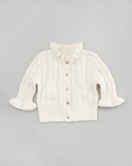Cashmere Cable-Knit Ruffle Cardigan, Niveous Ivory