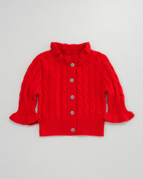 Cashmere Cable-Knit Ruffle Cardigan, Cardinal Red