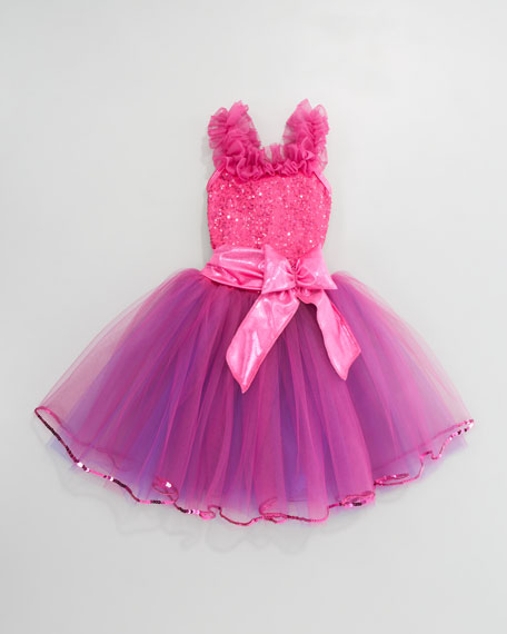 Ruffle-Neck Tulle Princess Dress
