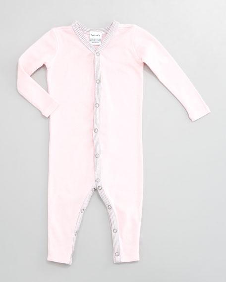 Striped-Trim Snug-Fit Playsuit, Pink Ribbon
