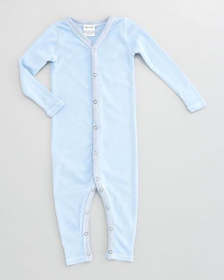 Striped-Trim Snug-Fit Playsuit, Sky