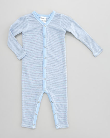 Mini-Stripe Snug Playsuit, Sky