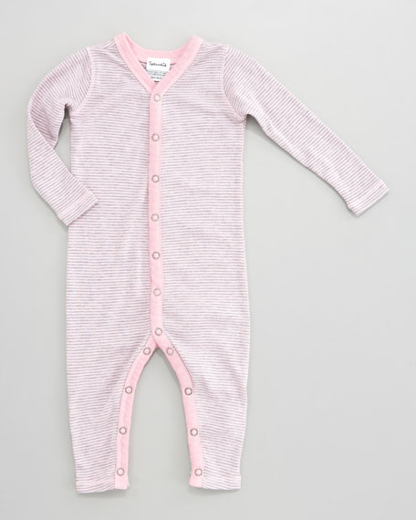 Striped Snug-Fit Playsuit, Pink Ribbon