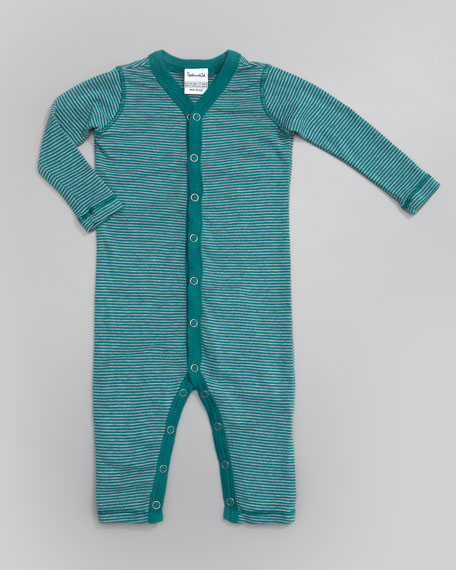 Mini-Stripe Snug Playsuit, Jade