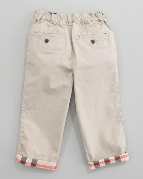 Check-Cuff Twill Pants