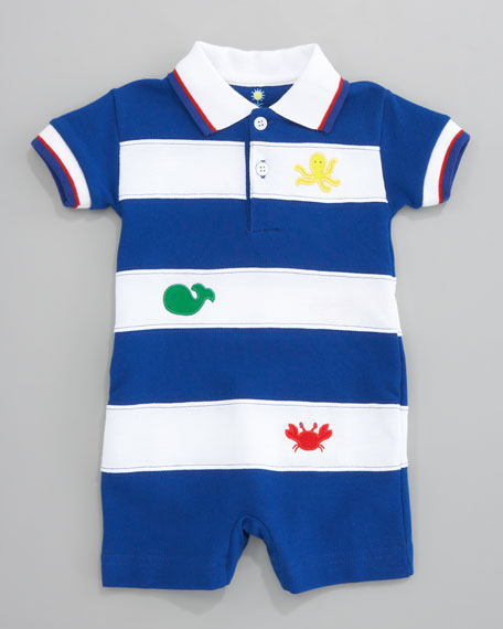 Who's Crabby Pique Playsuit, 3-9 Months