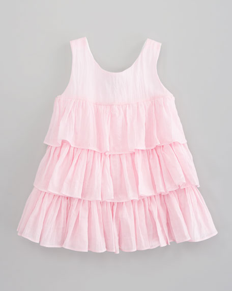 Ruffled Crinkled Voile Dress, Pink