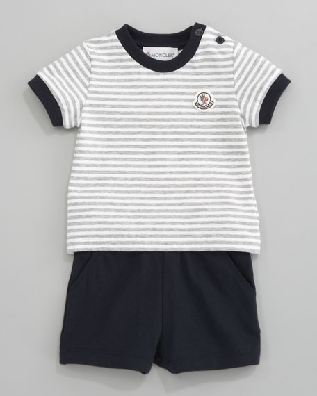Pique Stripe Shirt and Shorts Set