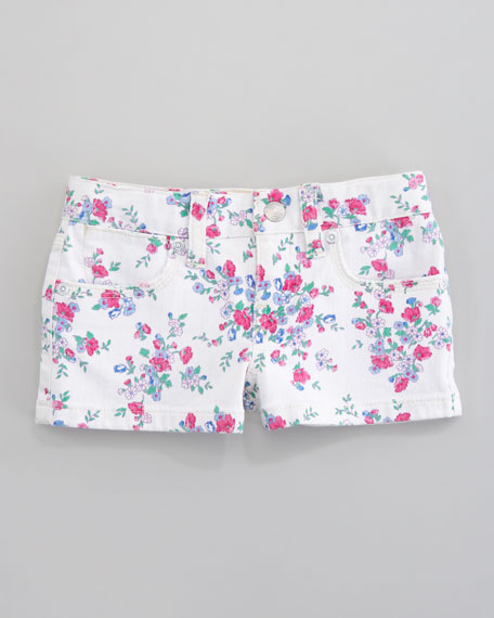 Floral-Print Denim Short, Royalston Wash