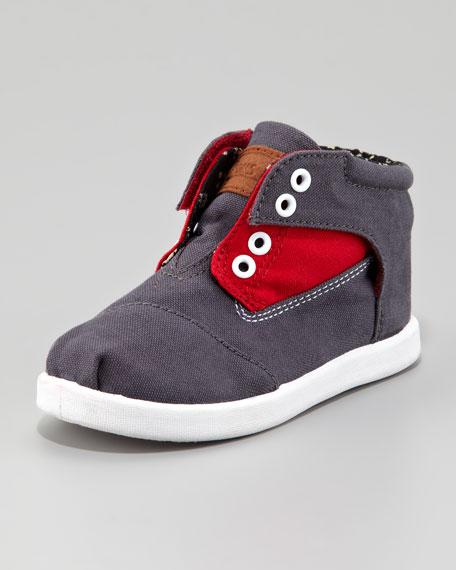 Colorblock Botas Shoe, Red/Gray, Tiny