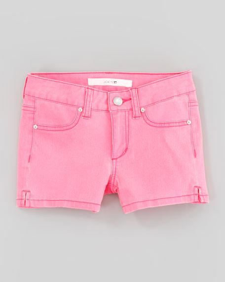 Neon Pink Stretch Denim Shorts, Sizes 2-6