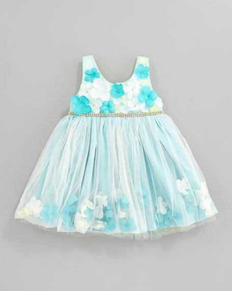 Flower Applique Tulle Dress, Aqua/Yellow