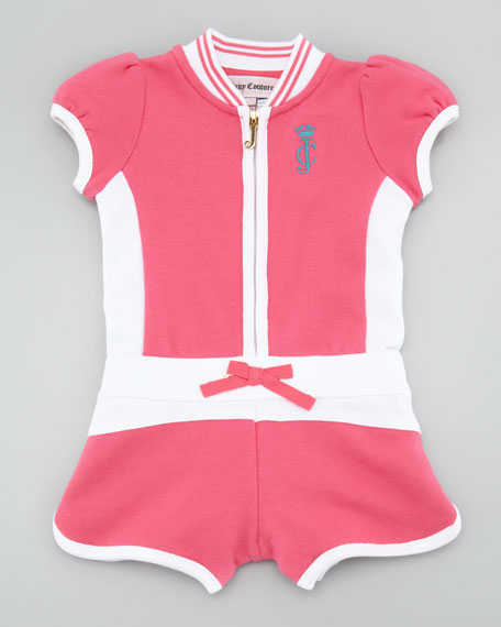 Terry Zip-Front Romper, Passion Pink
