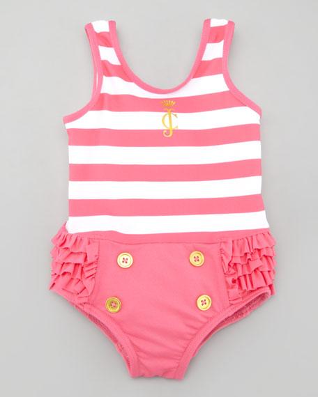 Striped Ruffle Bottom One-Piece Swimsuit