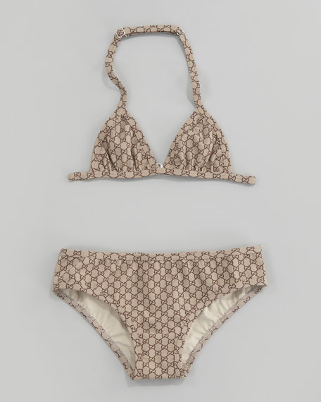 GG Print Two-Piece Triangle Swimsuit