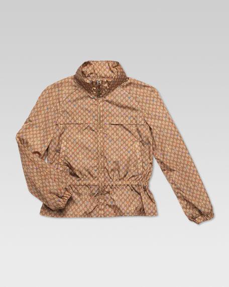 GG Stars Waterproof Nylon Jacket, Beige Ebony