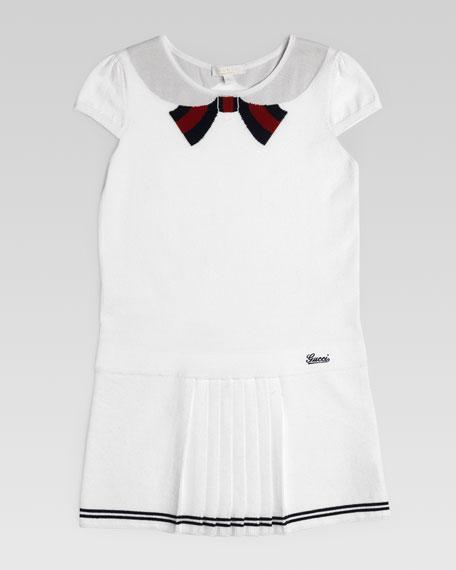 Intarsia Bow-Collar Dress, White Multi