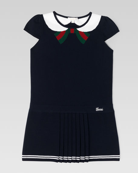 Intarsia Bow-Collar Dress, Navy