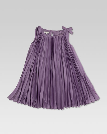 Pleated Silk Dress, Lilac