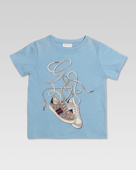 Gucci Ace Sneaker Tee, Sky Blue