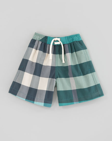Veridian Green Mini Check Swim Trunks, Kids Sizes