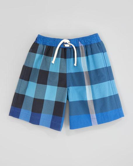 Cobalt/Turquoise Mini Check Swim Trunks, Kids Sizes